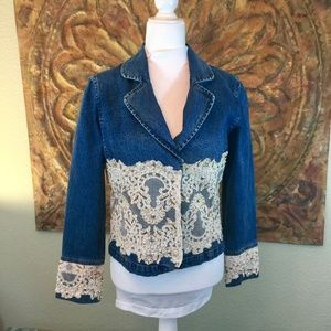 Denim Jean Jacket Lace Embellished Beaded Pearl S
